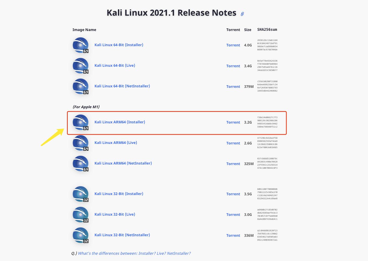 Kali Linux官网下载页面